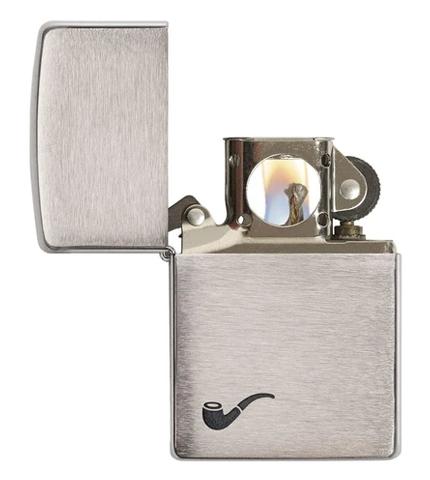 Zippo Brushed Chrome Pipe Lighter 200PL Opened