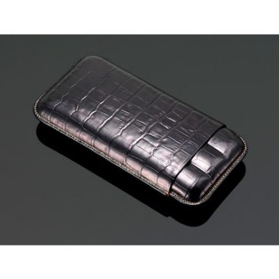 Crocodile Pattern Cigar Case - Black
