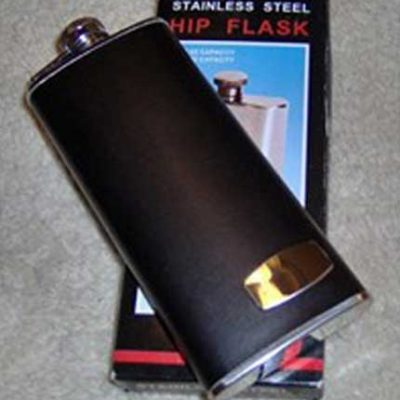 Black Leather Boot Flask