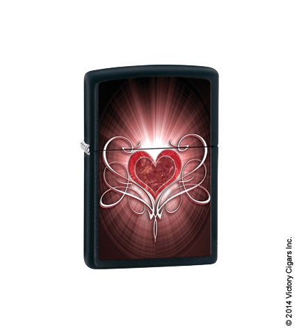 Heart With Filigree, Black Matte 28043