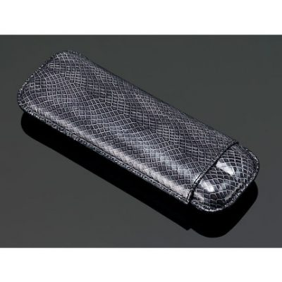 Lizard Pattern Two Cigar Case - Charcoal Grey