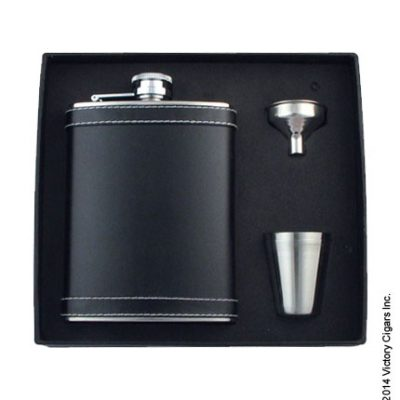 Stitched Leather Flask Set - Black