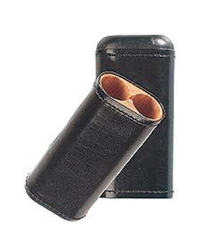 Two Finger Black Robusto Cigar Case