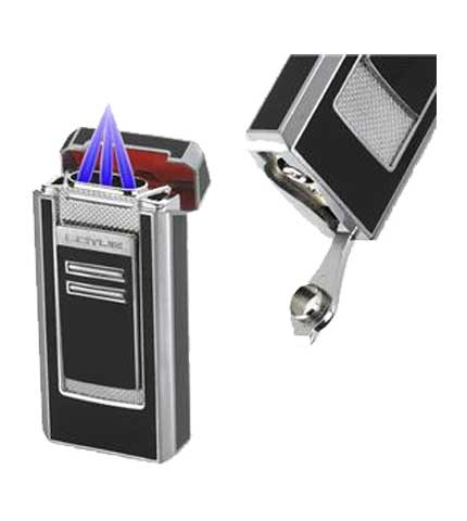 Commander Cigar Lighter Gray Lacquer & Chrome - Open