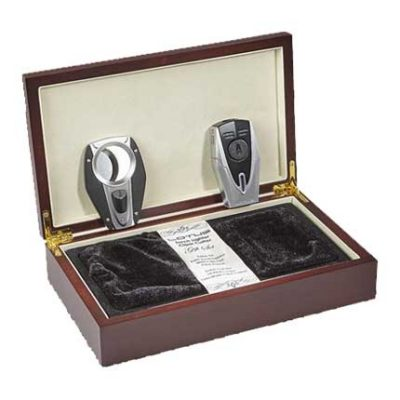 Lotus Fury Cigar Lighter And Cutter Gift Set - Black/Chrome