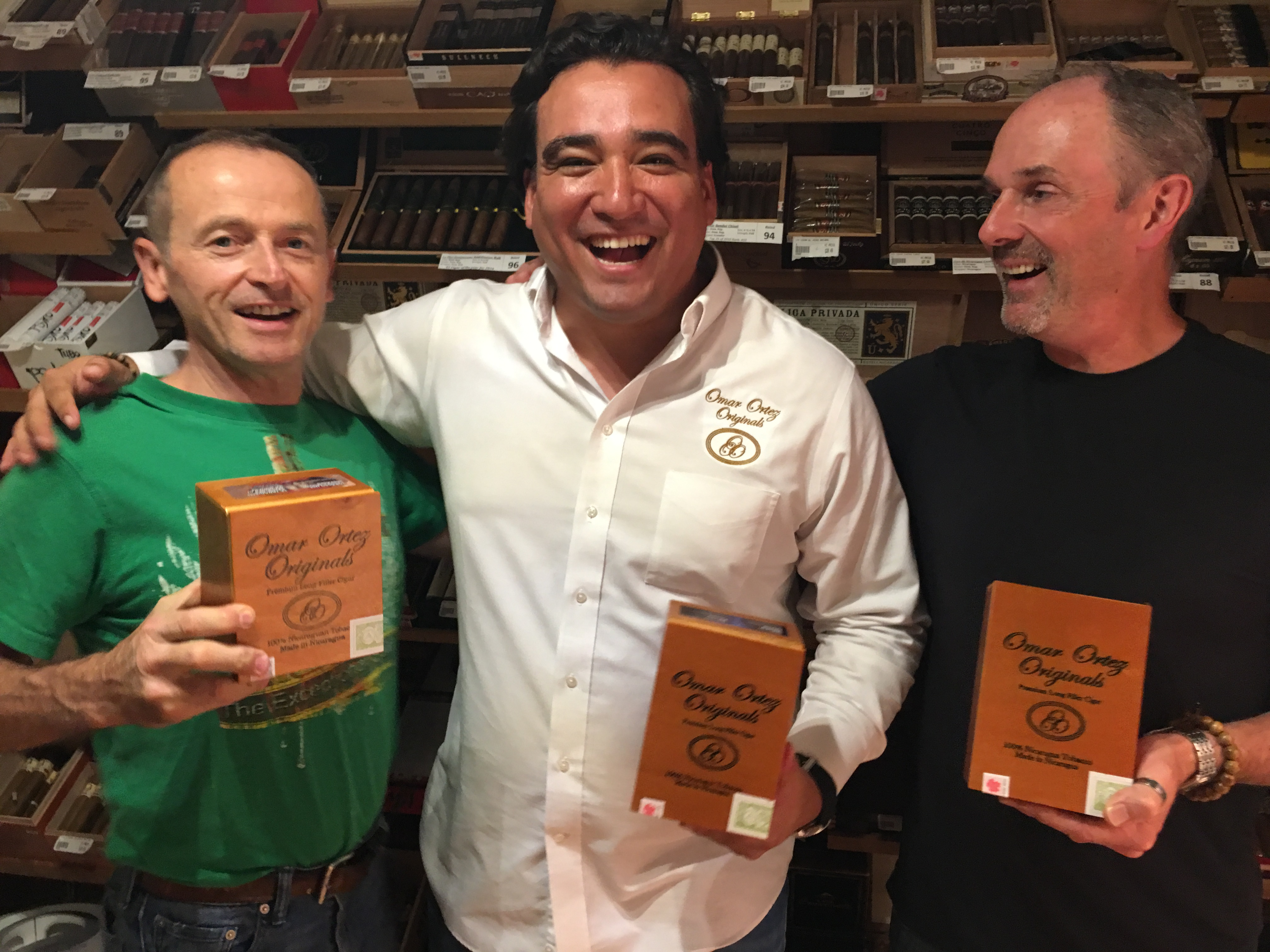 The Victory boys with Omar in the humidor.