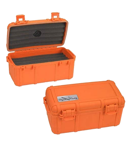 Opened & Closed Cigar Caddy Fifteen Count Orange